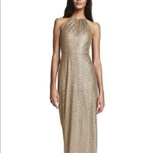 Amsale chandler gold dress